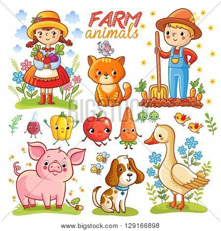 Farm cartoon set with farm animals vegetables and characters. Pepper isolated on white background. Vector illustration.