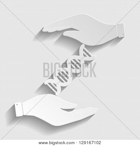 The dna sign. Flat style icon vector illustration.