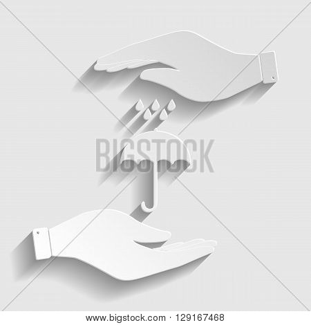 Umbrella with water drops. Rain protection symbol. Save or protect symbol by hands. Paper style icon with shadow on gray.