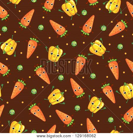 Vector seamless pattern with cute vegeables on dark background. Cartoon vegetable character. Vegetables: carrot pepper peas.