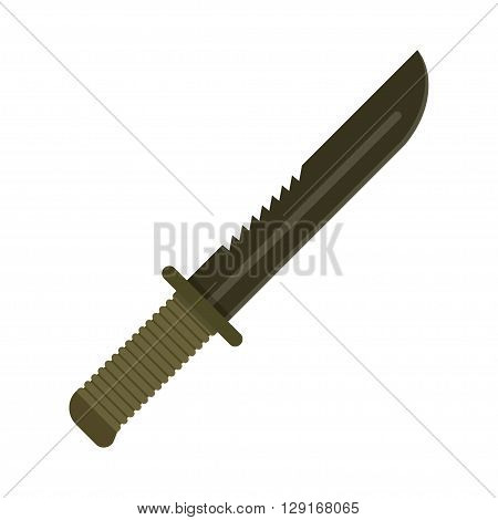 Army Military knife dark green . Special squad soldier weapons. Vector illustration
