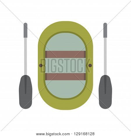 Inflatable boat vector illustration. Rafting boat icon isolated on white background. Rafting vessel boat pictogram in flat design.