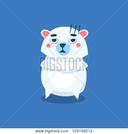 Sceptic Polar Bear Flat Primitive Geometric Design Vector Icon Isolated On Blue Background