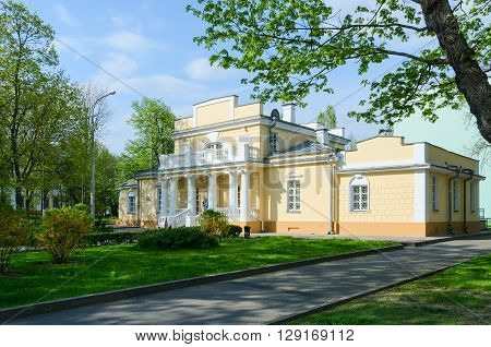 GOMEL BELARUS - MAY 1 2016: Hunting Lodge is town mansion former summer residence of Count N.P. Rumyantsev architectural monument of first half of XIX century. Now - Museum of History of Gomel