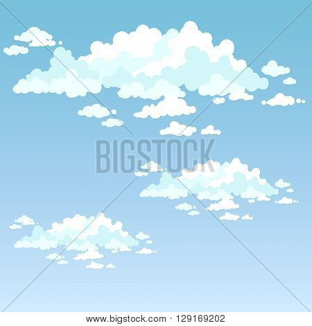 Fluffy clouds on a blue sky on a clear day.