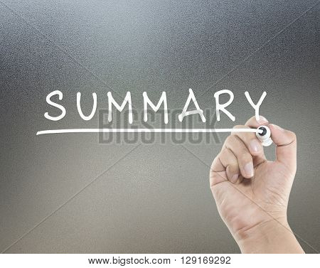 summary text on glass board with hand writing