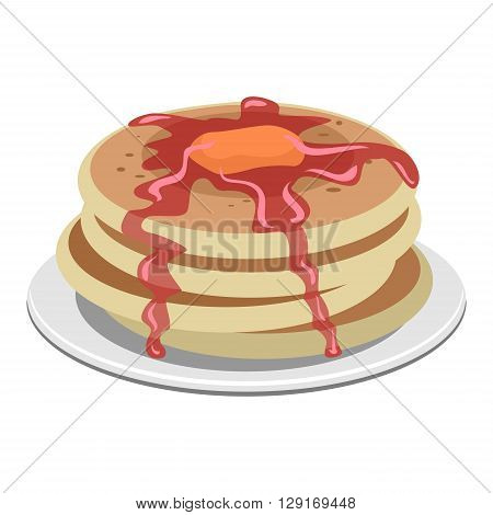 Vector Illustration of Pancake with Syrup and Butter