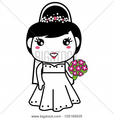 Vector Illustration of Bride holding bouquet of roses