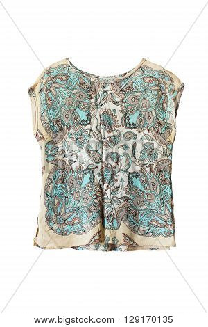 Silk ethnic sleeveless top isolated over white