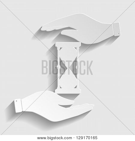 Hourglass sign. Save or protect symbol by hands. Paper style icon with shadow on gray.