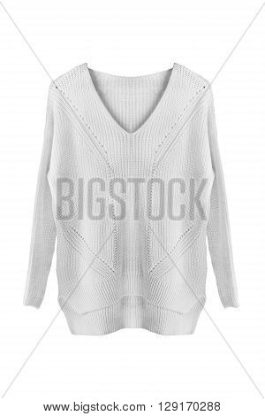 White wool oversize sweater isolated over white