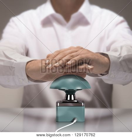 Image compositing between photography and 3D busser. Man with two hands about to press the button for answering a quiz question.