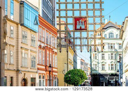 BRATISLAVA, SLOVAKIA - CIRCA APRIL 2016: Old city gate sign on Laurinska street in old town of Bratislava, Slovakia