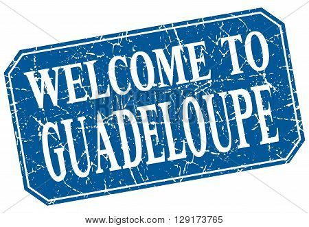 welcome to Guadeloupe blue square grunge stamp