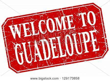 welcome to Guadeloupe red square grunge stamp
