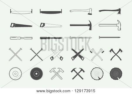 Set of vintage carpentry and mechanic labels emblems logo and design elements. Vector Illustration