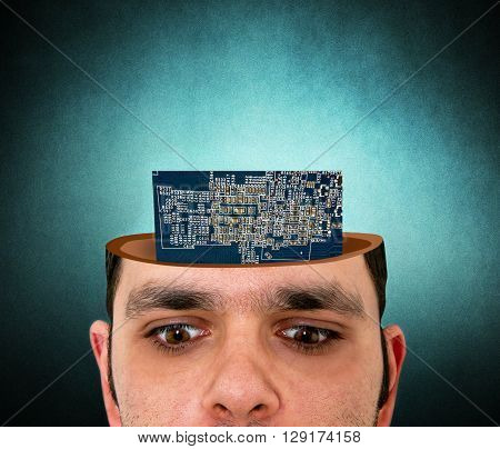 man with the open head and electronic chip