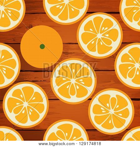 Cute seamless pattern with orange slices. Tasty summer background. Yummy tropical fruits endless texture. Can be used for wallpapers, banners, posters. Delicious healthy fruits. illustration