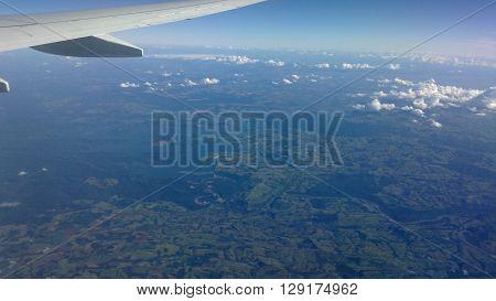 avião, janela, voo, horizonte, paisagem, nuvens, aérea