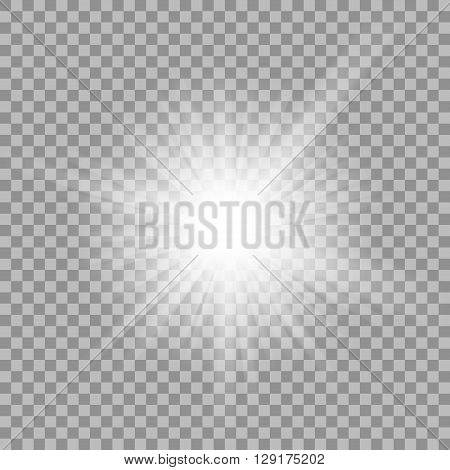 White glowing light burst explosion with transparent. illustration for cool effect decoration with ray sparkles. Bright star. Transparent shine gradient glitter, bright flare. Glare texture.