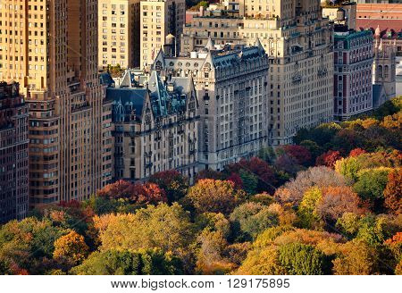 Aerial view of Upper West Side buildings and Central Park in fall New York City