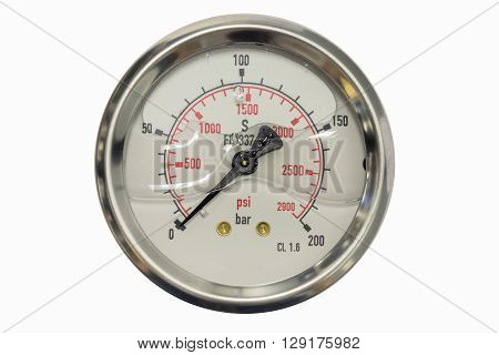 pressure gauge in bar and psi unit isolated on a white background