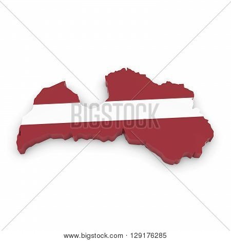 3D Illustration Map Outline of Latvia with the Latvian Flag