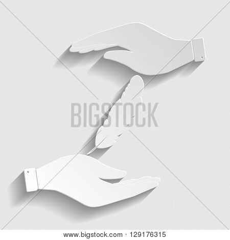 Feather sign. Save or protect symbol by hands. Paper style icon with shadow on gray.