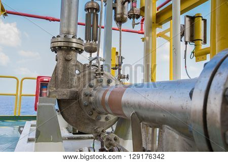 Centrifugal pump in oil and gas processing platform used for transfer liquid condensate