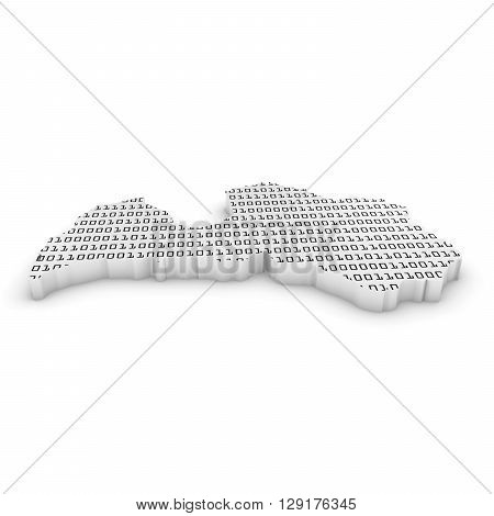 Latvian Technology Industry Concept Image - 3D Illustration Map Outline Of Latvia With Black And Whi
