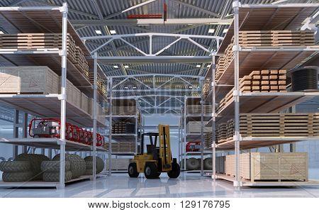 Truck in  hangar.3d render