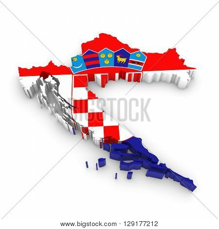 3D Illustration Map Outline Of Croatia With The Croatian Flag
