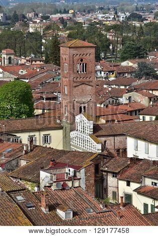 Romanesque San Pietro Somaldi church in the medieval historic center of Lucca