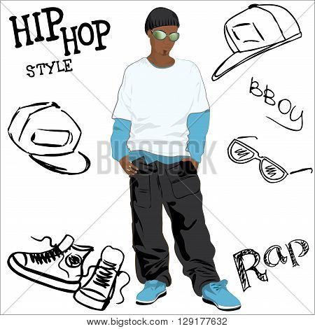 African-American man dressed as rapper trendy and hip hop accessories hand-drawn vector illustration
