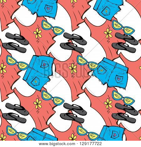 Summer Clothes seamless pattern. Mike shorts sunglasses Sandals