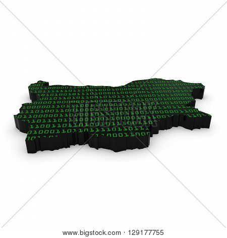 Bulgarian Technology Industry Concept Image - 3D Illustration Map Outline Of Bulgaria With Green Bin