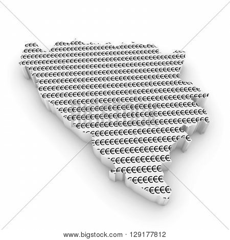 Bosnian And Herzegovinan Financial Concept Image - 3D Illustration Map Outline Of Bosnia And Herzego