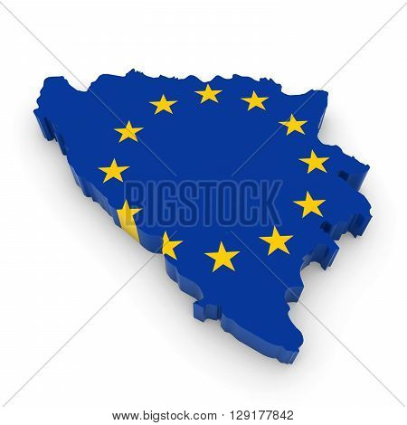 3D Illustration Map Outline Of Bosnia And Herzegovina With The European Union Flag