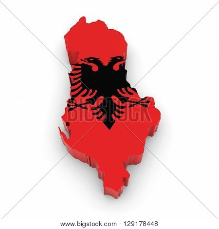 3D Illustration Map Outline Of Albania With The Albanian Flag