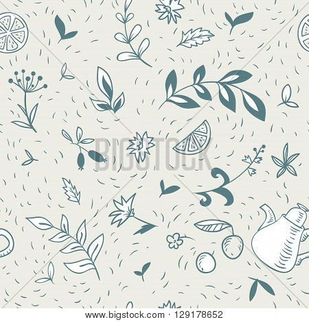 seamless pattern with teapot and floral elements