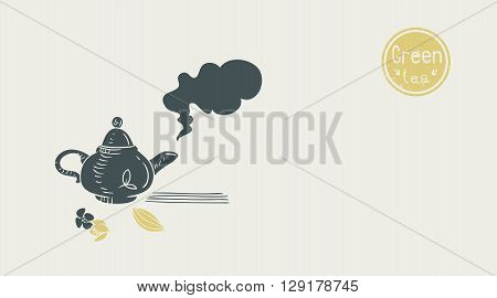 green tea poster. vector illustration with teapot