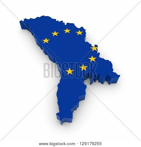 3D Illustration Map Outline Of Moldova With The European Union Flag