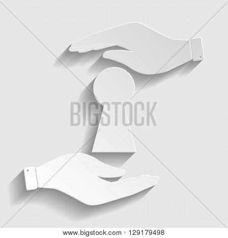 Keyhole sign. Save or protect symbol by hands. Paper style icon with shadow on gray.