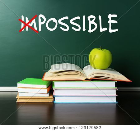 Word impossible transformed into possible on blackboard and textbooks