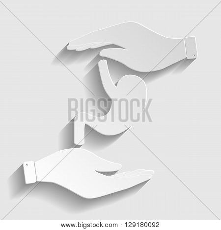 Human anatomy. Stomach sign. Save or protect symbol by hands. Paper style icon with shadow on gray.