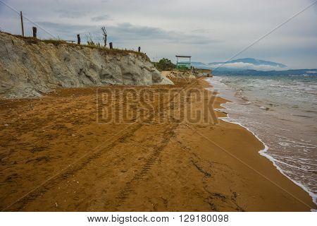 Stunning Red Sand And White Rocks On Ksi Beach  On Kefalonia, Greece