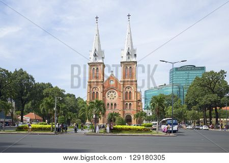 HO CHI MINH CITY, VIETNAM - DECEMBER 19, 2015: The Cathedral Notre Dame De Saigon on the town square. Historical landmark of the Ho Chi Minh City, Vietnam