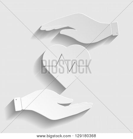 Heartbeat sign. Flat style icon vector illustration.