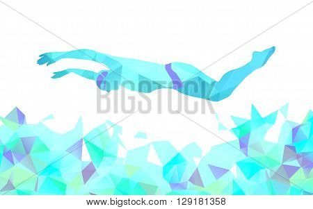 Butterfly Swimmer Color Silhouette. Sport swimming dolphin kick. Vector Professional Swimming Illustration