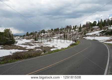 Beartooth highway winding among the rocks Wyoming USA